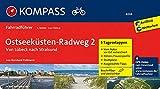 KOMPASS Fahrradführer Ostseeküsten-Radweg 2, von Lübeck nach Stralsund: Fahrradführer mit 5 Tagesetappen mit Routenkarten im optimalen Maßstab.: Fietsgids 1:50 000