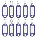 Wedo 262103403 Schlüsselanhänger Kunststoff (mit S-Haken, auswechselbare Etiketten) 10 Stück, blau