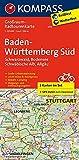 Baden-Württemberg Süd, Schwarzwald, Bodensee, Schwäbische Alb, Allgäu: Großraum-Radtourenkarte 1:125000, GPX-Daten zum Download: 2-delige fietskaart ... (KOMPASS-Großraum-Radtourenkarte, Band 3711)