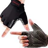 boildeg Fahrradhandschuhe Radsporthandschuhe rutschfeste und stoßdämpfende Mountainbike Handschuhe mit Signalfarbe geeiget Unisex Herren Damen (Schwarz, M)